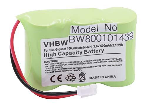 vhbw Akku 600mAh (3.6V) für schnurlos Festnetz Handy Siemens Gigaset 100, 200, A1, A100, T11 wie C39453-Z5-C193, HSC22, u.a.