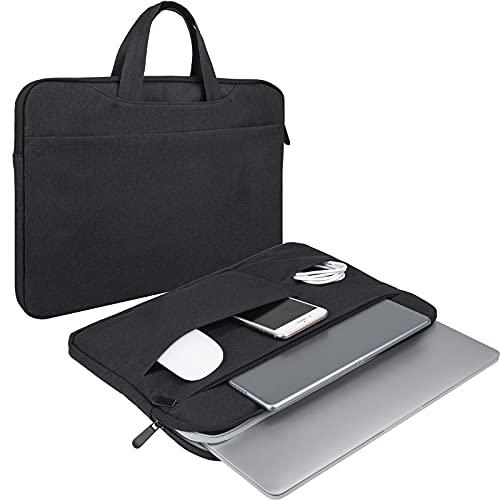 RAINYEAR Laptophülle Tragetasche Kompatibel mit 2020 2021 New 16 Zoll MacBook Pro A2141,Aktentasche Handtasche mit Handgriff Mehrere Taschen Gepolsterte Polyester wasserdichte Schutztasche,Schwarz