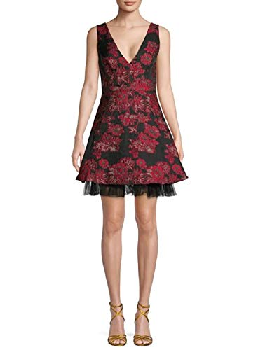 BCBG Maxazria Floral Fit Flare Dress 6 Red Black