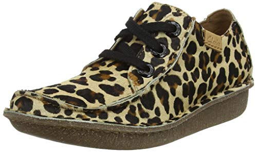 Clarks Damen Funny Dream Derbys, Mehrfarbig (Leopard PRT Pony Leopard PRT Pony), 39 EU