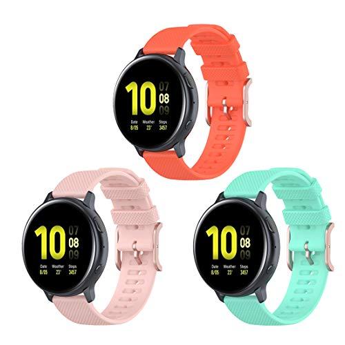 Bexido [Pack de 3 correas de repuesto de silicona de 20 mm compatibles con Huawei Watch GT2 42 mm/Honor Magic Watch 2 42 mm/Amazfit GTR 42 mm/Amazfit GTS/Amazfit Bip/Bip S/Bip Lite
