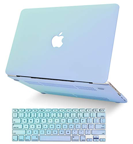 KECC Laptop Case Compatible with MacBook Pro 13' (2020/2019/2018/2017/2016) w/Keyboard Cover Plastic Hard Shell A2159/A1989/A1706/A1708 Touch Bar 2 in 1 Bundle (Green Serenity Blue)