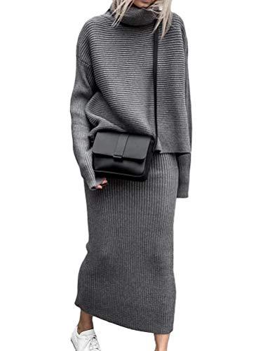 ORANDESIGNE Damen Strickkleid Zweiteiliger Anzug Pullover Oberteil und Midi Strickrock Bodycon 2 Stück Set Midikleid Rollkragen Pulloverkleid D...