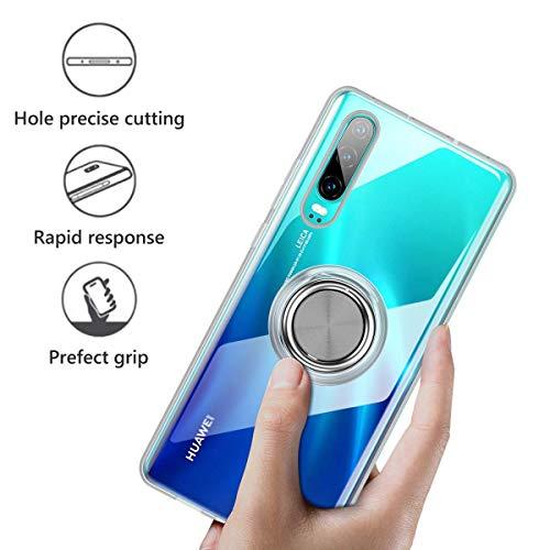 Huawei P30 Hülle, Silikon TPU Slim Cover Transparent Ultradünn Handyhülle mit 360 Grad Ring Stand Magnetische Autohalterung Schutzhülle Case für Huawei P30,Clear - 5