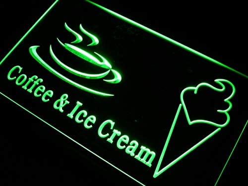 ADVPRO Coffee Ice Cream Cafe Shop free Popular products Gift Sign Neon 24 LED Green x