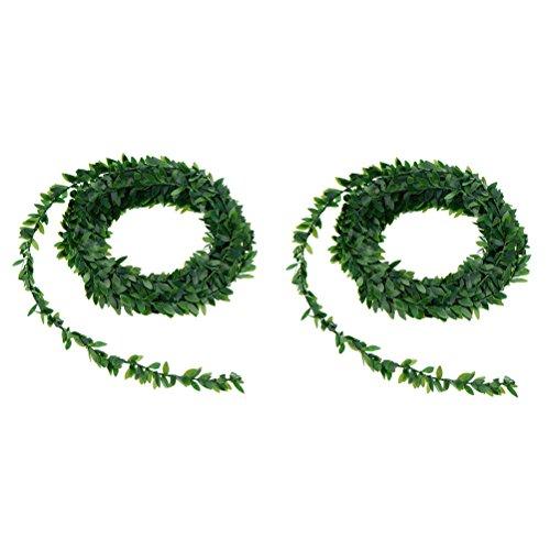 VOSAREA 2 STÜCKE Künstliche Pflanzen Grünes Blatt Draht Rattan Simulation Handwerk Garland Kranz Blumen für Hochzeit Auto Dekoration