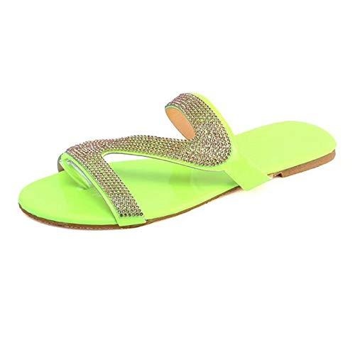 LKSDJ 2021 Sandalias Informales con Plataforma cómoda para Mujer, Chanclas de Verano para la Playa, Chanclas de Viaje, Sandalias para Mujeres Elegantes, Chanclas de Cristal de Talla Grande Green 35