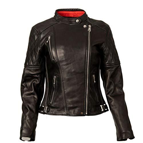 Goldtop Bobber CE - Chaqueta de motocicleta con certificado AAA, color negro | blindado con botón extraíble CE Knox Microlock Armour