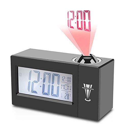 Uhruolo Projection Alarm Clock - LCD Time Projector Large Display, Digital Alarm Clock with Voice Control Snooze for Bedroom, Best Gift for Boys and Girls,Black