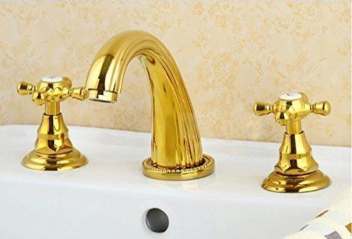Rozinsanitary Maniglia Rubinetto Miscelatore soprapiano, 3 pezzi, colore: oro lucido, per lavabo bagno a tre fori