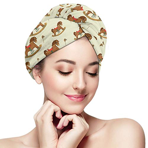 KXT Rocking Horse Hair Towel Wrap,Microfiber Super Absorbent Quick Dry Hair Turban With Button,For Women