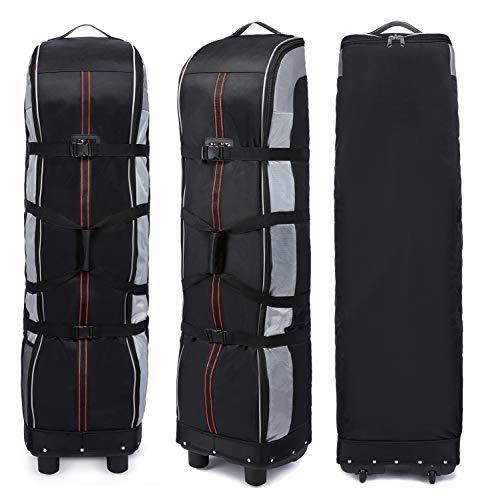 Thinksea Hard-Bottom Golf Club Travel Bag Case with Wheels, Heavy Duty Polyester Oxford Wear Resistant Waterproof - 55 x 15 x 12.5 Inches (Silver/Black)