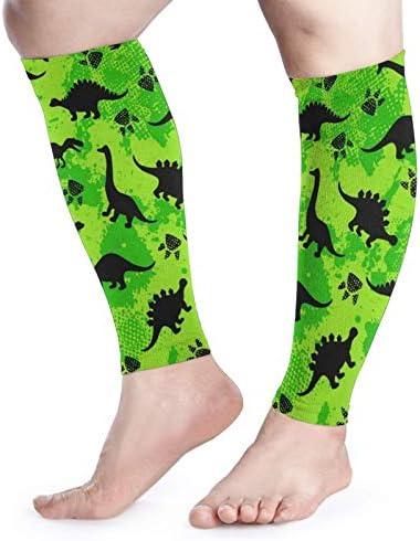 ALIKEU Calf Compression Sleeve Women Men Running Neon Dinosaur Dinosaur Camouflage Footless product image