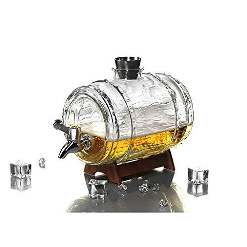ZSQHD 1500 ml de decantador de Vidrio Conjunto Creativo Cerveza Barril Bar Familia Fiesta decoración Botella de Vino Acero Inoxidable pequeño Vino Copa de Vino