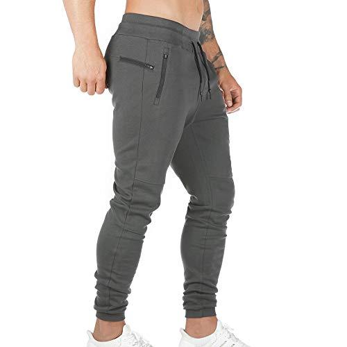 Pantaloni Sportivi da Uomo Pantaloni da Jogging Sportivo Fitness Pantaloni di Tuta Slim Fit Pantaloni per Il Tempo Libero Palestra Elastico Vita Cordino (Grigio Scuro, XL)