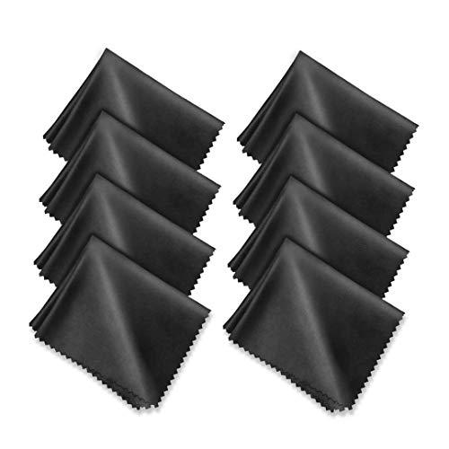 "CUNCUI 8pcs Microfiber Cleaning Cloth, Premium Microfiber Cleaning Cloth for Glasses, Suitable for Camera Lens, Cell Phones, Eyeglasses, Laptops, Jewelry. (Black 6"" x 7"")"