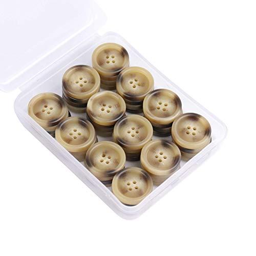 SUNTATOP Set di Bottoni in Resina da 25mm, Bottoni a 4 fori da 50 Pezzi con Motivo a Corno per Camicie o Altri Indumenti e Decorazioni