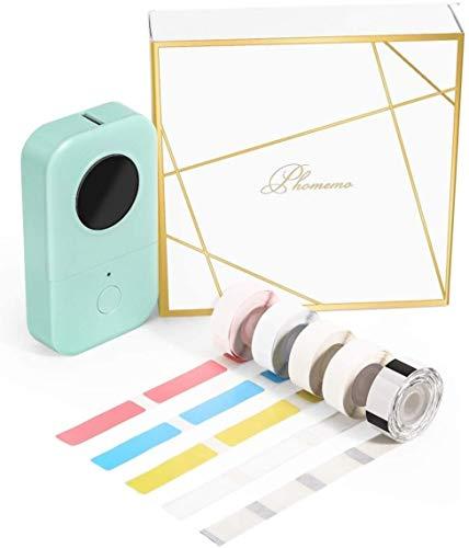 Phomemo D30 Bluetooth Etikettendrucker Mini Thermoetikettendrucker tragbares label maker,Geschenkbox mit 5 Rollen Thermoetikettenpapier,Einfache Verwendung für Zuhause,Büro,Schule,Ladengeschäft.Grün