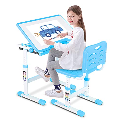 Ejoyous Adjustable Height Children Desk and Chair Set, Multifunctional School Student Writing Desk...