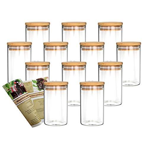 gouveo 12er Set 250 ml Glasbehälter aus Borosilikatglas mit Bambus-Deckel, Vorratsgläser, Gewürzgläser, Glasdosen, Vorratsdose