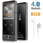 MP3 Player with Bluetooth, BENGJIE 8GB Portable Music Player with FM Radio with Headphones, Touch Button HiFi Lossless Metal Audio Player with Voice Recorder, Expandable 128GB TF Card, Black