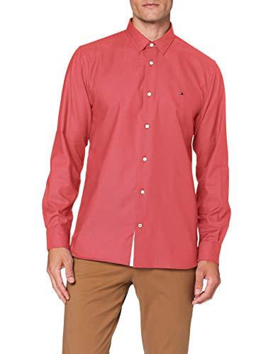 Tommy Hilfiger Flex Two Tone Dobby Shirt Camicia, Rosso, XL Uomo