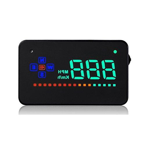 ACBungji HUD Auto KFZ 3.5 Zoll Head Up Display Einfach Und Klar Tacho Geschwindigkeitsmesser KM/h MPH Überdrehzahl Alarm Voltmeter Integriertes GPS Modul Kompass Mit DC 12V Fahrzeugen Kompatibel.