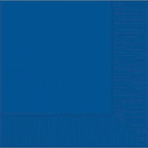 """Durable Plain 3-Ply Beverage Napkins Party Tableware, Bright Royal Blue, Paper, 5"""" x 5"""", Pack of 50"""