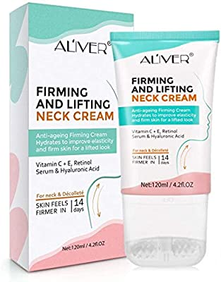 Neck Firming Cream with 2 in 1 Roller Massage, Anti Aging Moisturizer for Neck & Décolleté, Anti Wrinkle Skin Tightening and Lifting Cream Reduce Double Chin, Firm Sagging Skin 120ML by VINIMAY