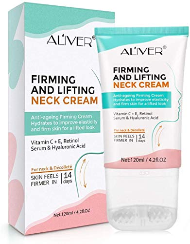 Neck Cream,Neck Firming Cream with 2 in 1 Roller Massage, Anti Aging Moisturizer for Neck & D¨¦collet¨¦, Anti Wrinkle Skin Tightening Cream for Lifting Double Chin, Sagging and Crepe Skin