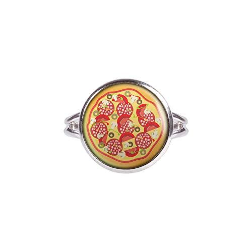 Mylery Anillo con Motivo Pizza de Italia Pizzeria Plata 14mm