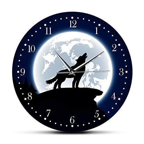 yage Arte de la Pared del Desierto Ling Lobo con la Luna Reloj de Pared Decorativo Vida Salvaje Animal Decoración del hogar Reloj de Pared de Lobo Gris Hombre Cueva Reloj de Pared