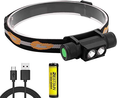 Faros LED Linterna recargable USB Linterna frontal superbrillante 6 modos de iluminación,...