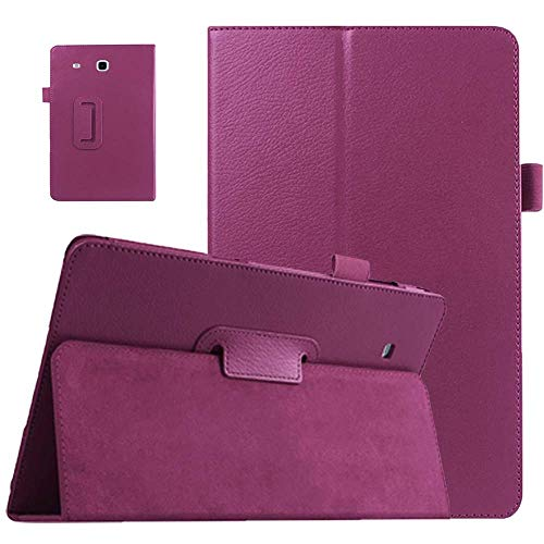 EKVINOR Galaxy Tab E 9.6 Case - Slim Leather Stand Folio Case Cover for Samsung Galaxy Tab E 9.6 Inch Tablet (Fit All Versions SM-T560 T561 T565 and SM-T567V) - Purple