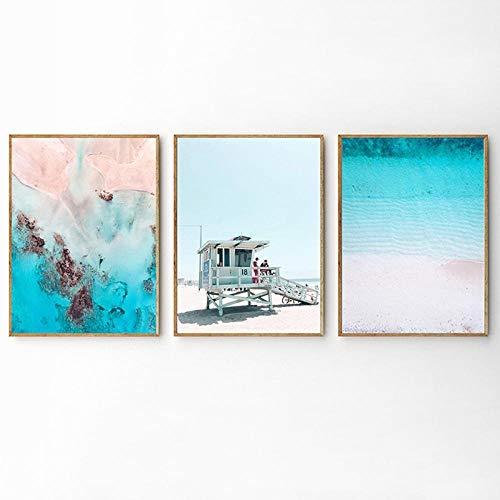 Carteles e impresiones de playa de arena, lienzo de paisaje marino nórdico, pintura de pared azul costera, cuadros artísticos de pared para decoración de sala de estar