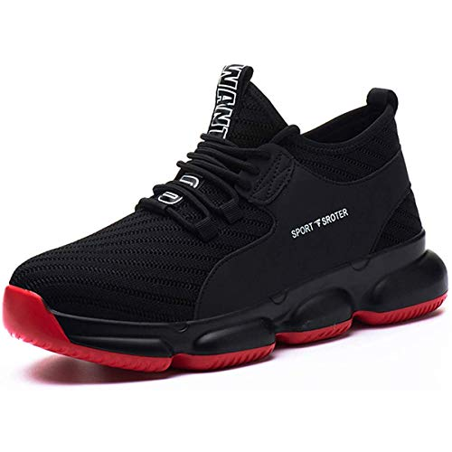 YISIQ Chaussures de Sécurité Homme Femmes Chaussures de Travail Embout Acier Protection Ultra légère et Indestructible Respirant Basket Securite Unisexes,45 EU,07 Noir Rouge