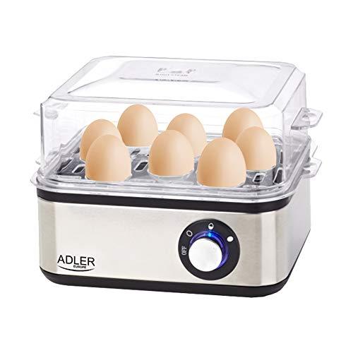 ADLER AD 4486 Eierkocher für 8 Eier mit Messlöffel, 800 W, Kochzubehör für weiche, harte gekochte Eier, Kontrollleuchte, Automatische Abschaltung, silber/schwarz