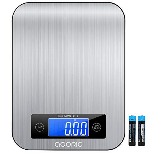 Adoric Küchenwaage-Küchenwaage mit LCD Display und praktische Haushaltswaage mit Tara Funktion-digitalwaage für max. 10 kg-Schwarz&Silbrig