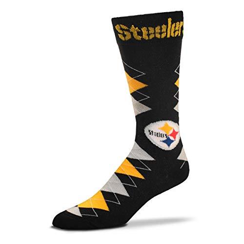 NFL Team Black Argyle Fan Nation Socks - One Size Fits Most (Pittsburgh Steelers)