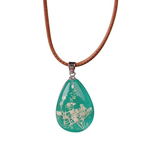 Regalos San Valentin Collar Yesmile ❤️ Colgante Luminoso De Mujer Colgante de lágrima de Flor Seca Encanto del Collar Joyería de Cadena