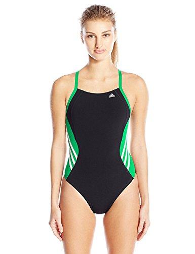 adidas Women's Solid Infinitex Splice Performance One Piece Swimsuit, Green, 28