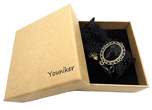 Youniker Retro Handmade Choker Necklace for Women Gothic Black Lace Necklace for Halloween Punk Costume Party Royal Court Vampire Choker Pendant Chain(Black)