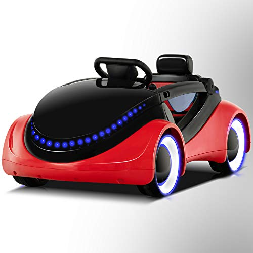 Uenjoy Electric Kids Ride On Cars Battery Motorized Vehicles with Remote Control, LED Lights, Music, Story Playing, Safety Lock, Red