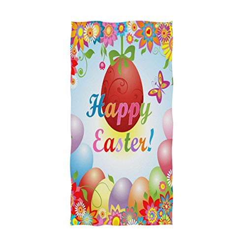 Bert-Collins Toallas de Mano Grandes de Huevos de Pascua Coloridos, Toallas de Ducha de baño Happy Easter Toallas Multiusos Muy absorbentes (40x70cm)