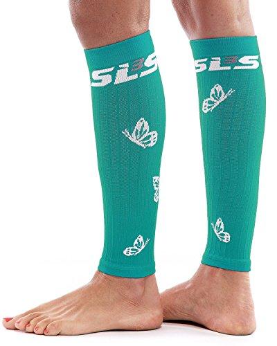 SLS3 Damen Waden Kompressionsstrümpfe ohne Fuß Small/Medium Teal/weiß