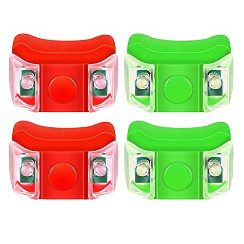 Milkvetch 4X Luces LED de NavegacióN para Barcos para Barcos Yates Lanchas una Motor Bicicletas Caza Pesca Nocturna Correr (Rojo, Verde)