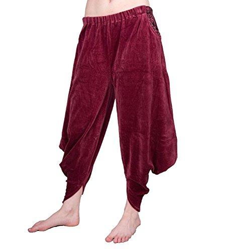 KUNST UND MAGIE Sarouel Haremshose Pluderhose aus Samt Aladinhose weinrot, Farbe:Rot, Größe:One Size