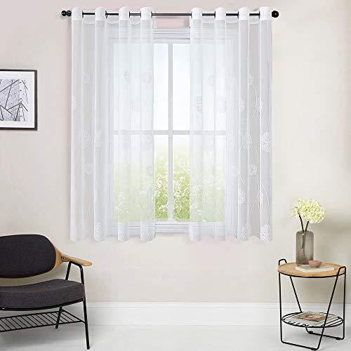 MRTREES Voile Vorhänge halbtransparent Vorhang kurz im Blumen Stickerei Modernen Wohnstil Sheer Gardinen für Wohnzimmer Schlafzimmer Kinderzimmer Weiß 160×140cm (H × B) 2er- Set