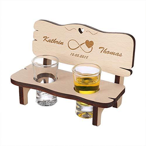 Holzbank personalisiert mit 2 Gläser - hochwertiges Geschenk für Hochzeiten und Paare - Geschenkidee aus Holz - Motiv Unendlich