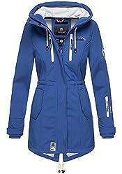 MARIKOO Damen Winter Jacke Winterjacke Mantel Outdoor wasserabweisend Softshell B614 [B614-Zimt-Royalblau-Gr.M]